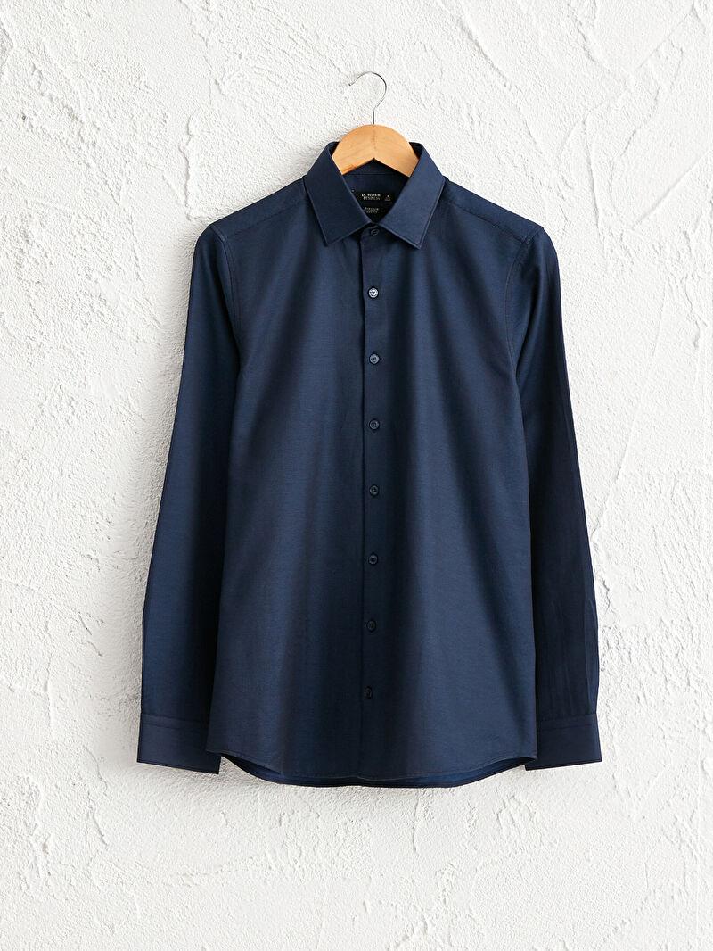 Lacivert Slim Fit Uzun Kollu Poplin Gömlek 0W0305Z8 LC Waikiki