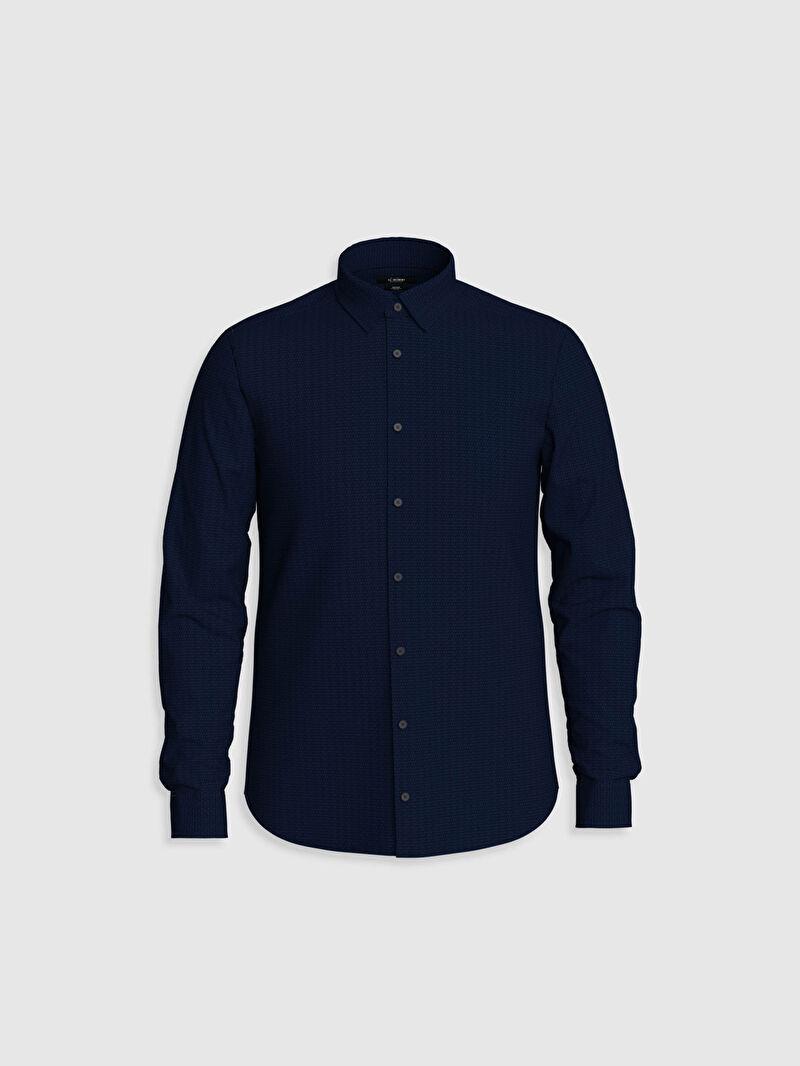 %42 Polyester %58 Pamuk  Gömlek Gömlek Yaka İnce Dar Uzun Kol Düz Slim Fit Uzun Kollu Poplin Gömlek
