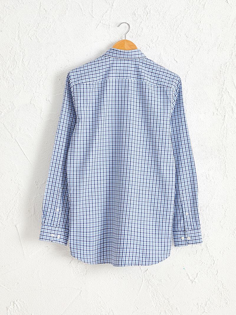 %57 Pamuk %43 Polyester  Gömlek Ekose Gömlek Yaka Dar Uzun Kol Slim Fit Ekose Uzun Kollu Armürlü Gömlek