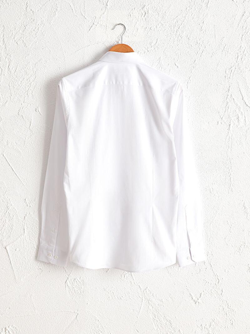 %49 Pamuk %47 Polyester %4 ELASTAN  Gömlek Gömlek Yaka İnce Uzun Kol Düz Ekstra Dar Poplin Ekstra Slim Fit Uzun Kollu Poplin Gömlek