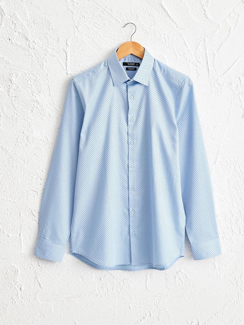 %66 Pamuk %34 Polyester  Baskılı Dar Uzun Kol Gömlek Gömlek Yaka İnce Slim Fit Uzun Kollu Armürlü Gömlek