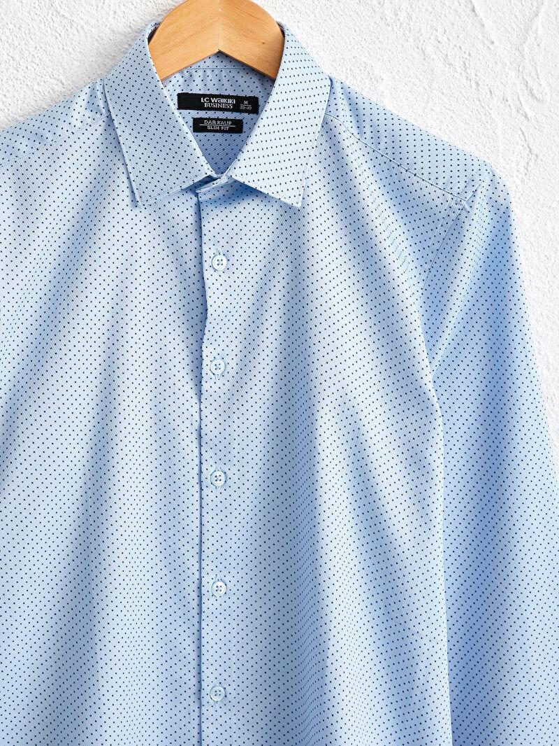 %66 Pamuk %34 Polyester  Slim Fit Uzun Kollu Armürlü Gömlek