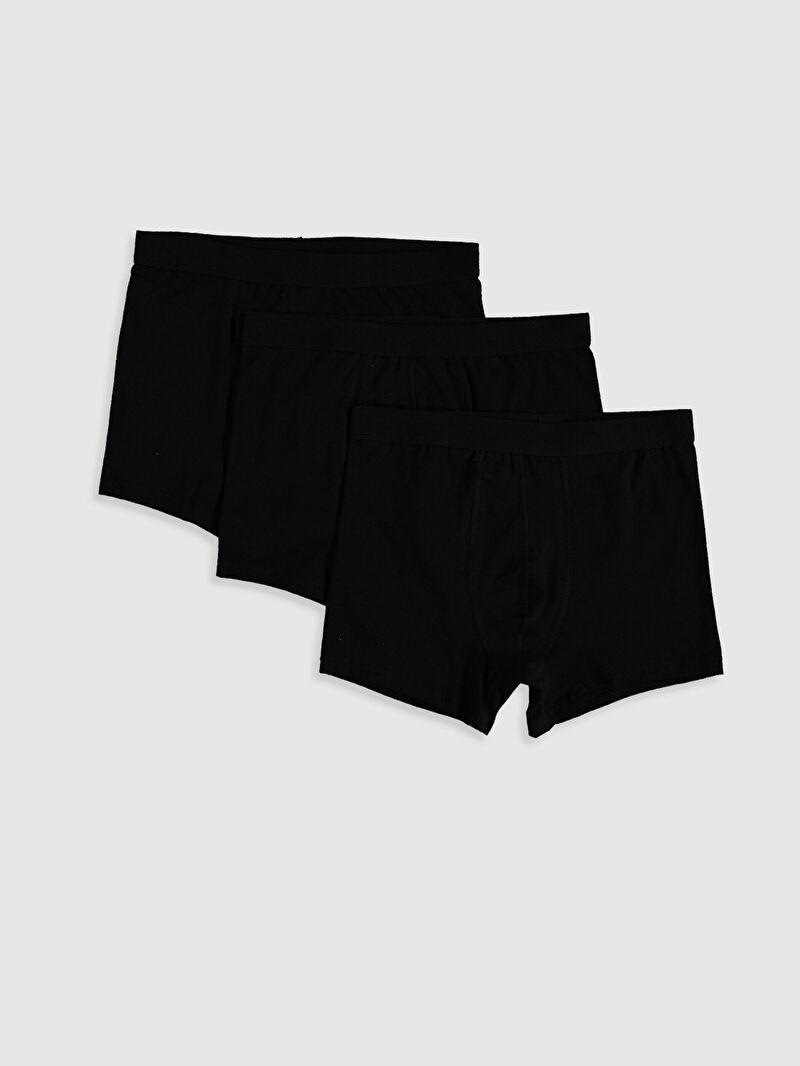 Siyah Standart Kalıp Esnek Kumaş Erkek Boxer 3'lü 0W0607Z8 LC Waikiki