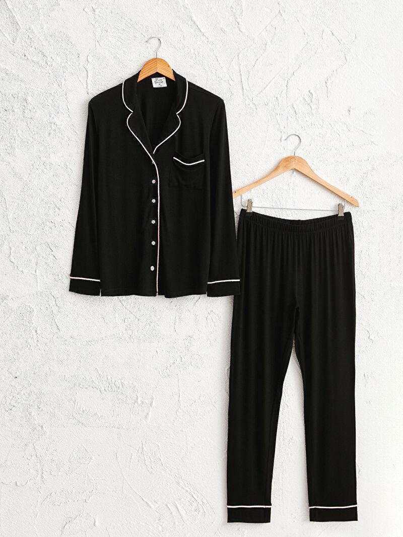 Siyah Yakalı Şerit Detaylı Pijama Takımı 0W2454Z8 LC Waikiki