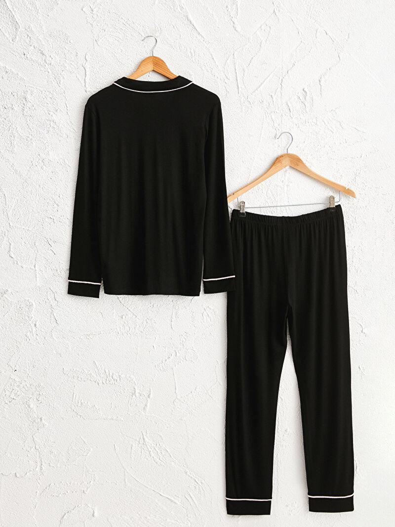 %97 VİSKOZ %3 ELASTAN  %97 VİSKOZ %3 ELASTAN  Standart Gömlek Yaka İnce Pijama Takım Uzun Uzun Kol Düz Yakalı Şerit Detaylı Pijama Takımı