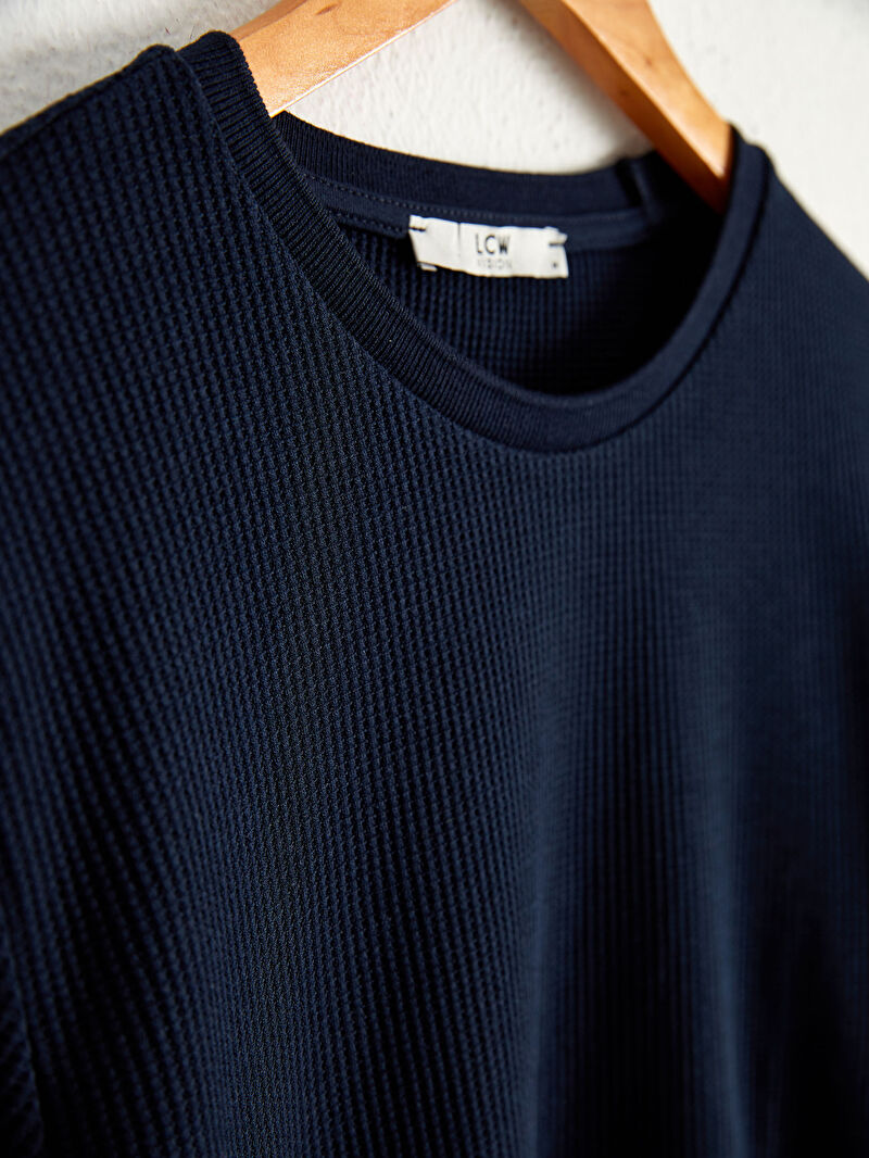 %51 Polyester %49 Pamuk  Bisiklet Yaka Uzun Kollu Basic Tişört