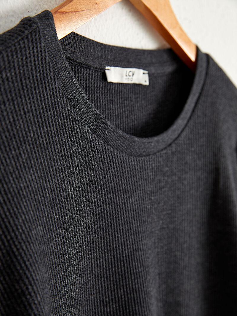 %85 Pamuk %15 Polyester  Bisiklet Yaka Uzun Kollu Basic Tişört