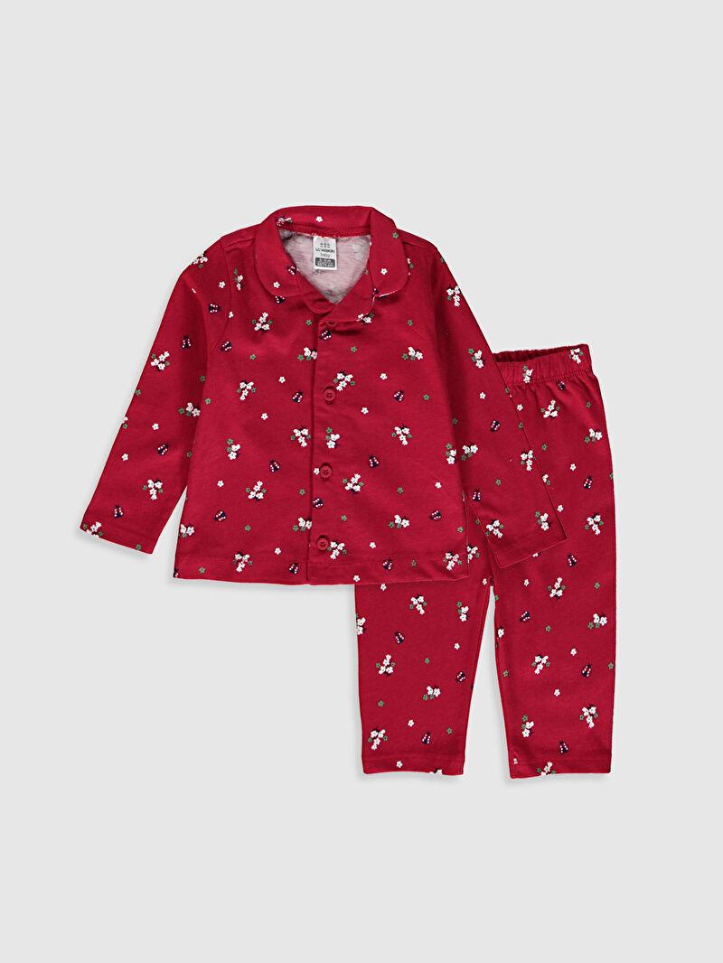 Kırmızı Kız Bebek Baskılı Pijama Takımı 0W2983Z1 LC Waikiki