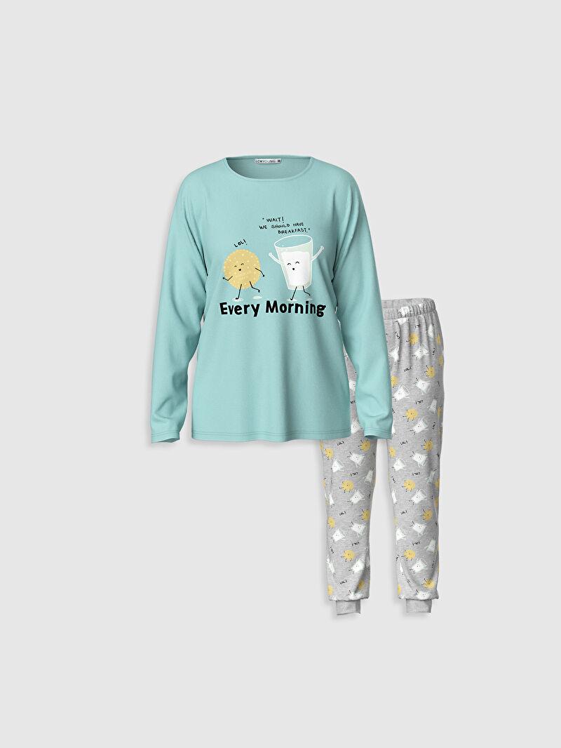 Turkuaz Baskılı Pamuklu Pijama Takımı 0W3147Z8 LC Waikiki