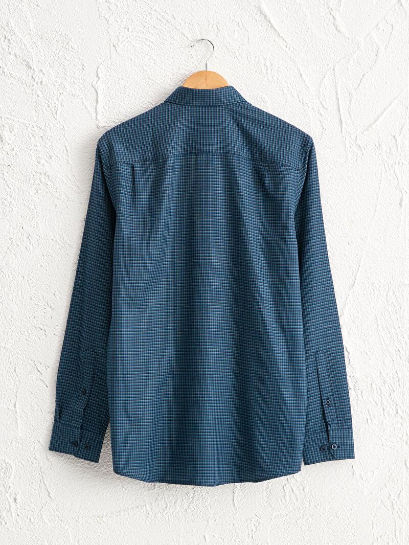 %58 Pamuk %42 Polyester  Uzun Kol Gabardin Gömlek Standart Gömlek Yaka İnce Regular Fit Uzun Kollu Gabardin Gömlek