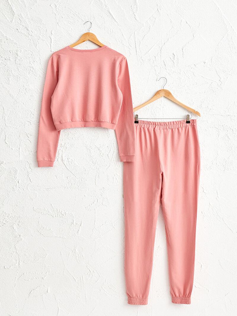 Pembe Işıltılı Yazı Baskılı Pijama Takımı