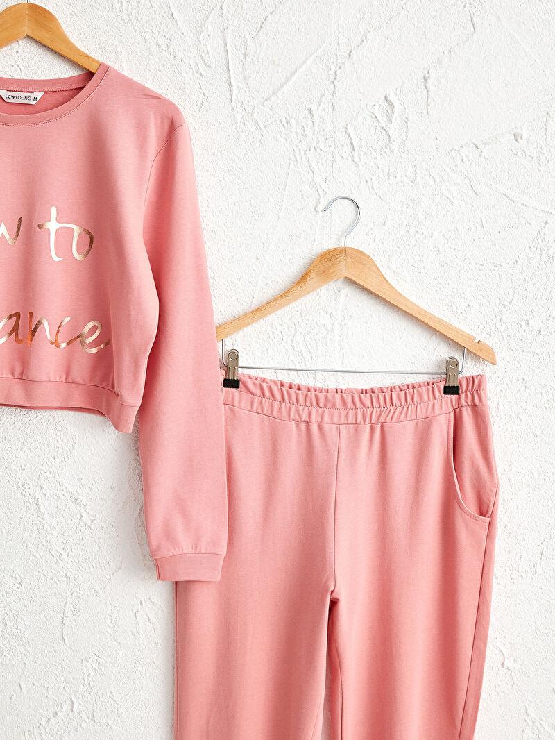 0W4287Z8 Işıltılı Yazı Baskılı Pijama Takımı