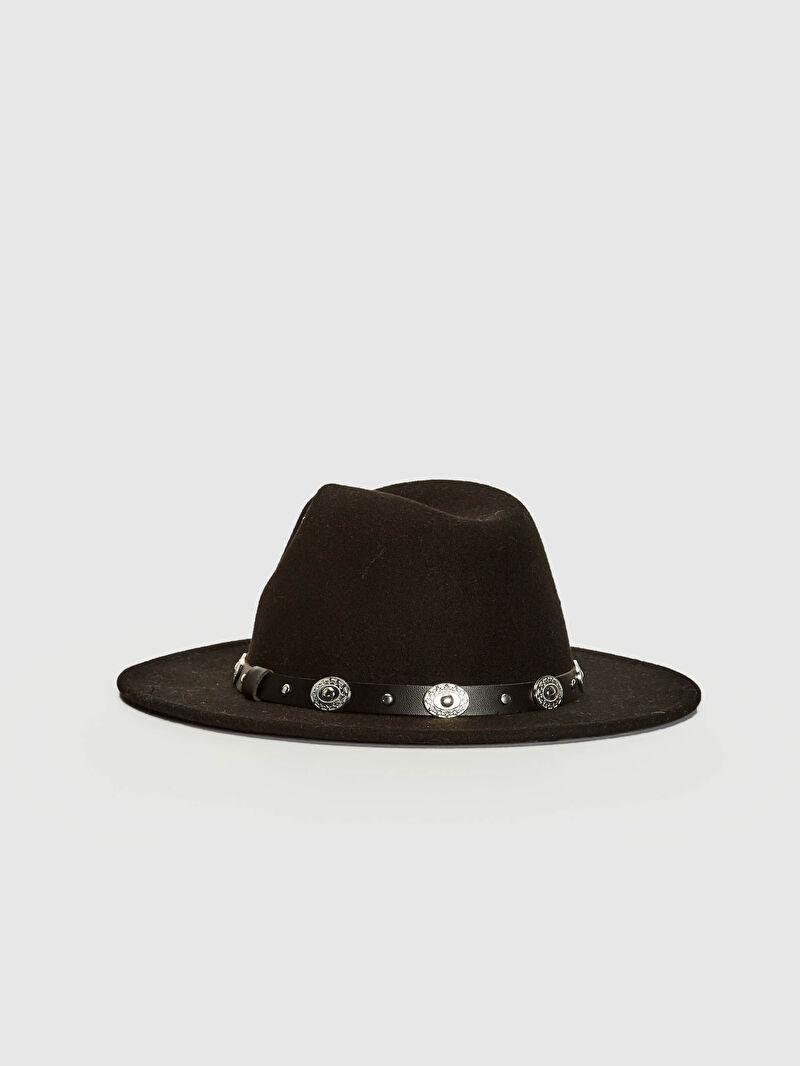 %100 Polyester  Şapka Kaşe Kemer Detaylı Fötr Şapka
