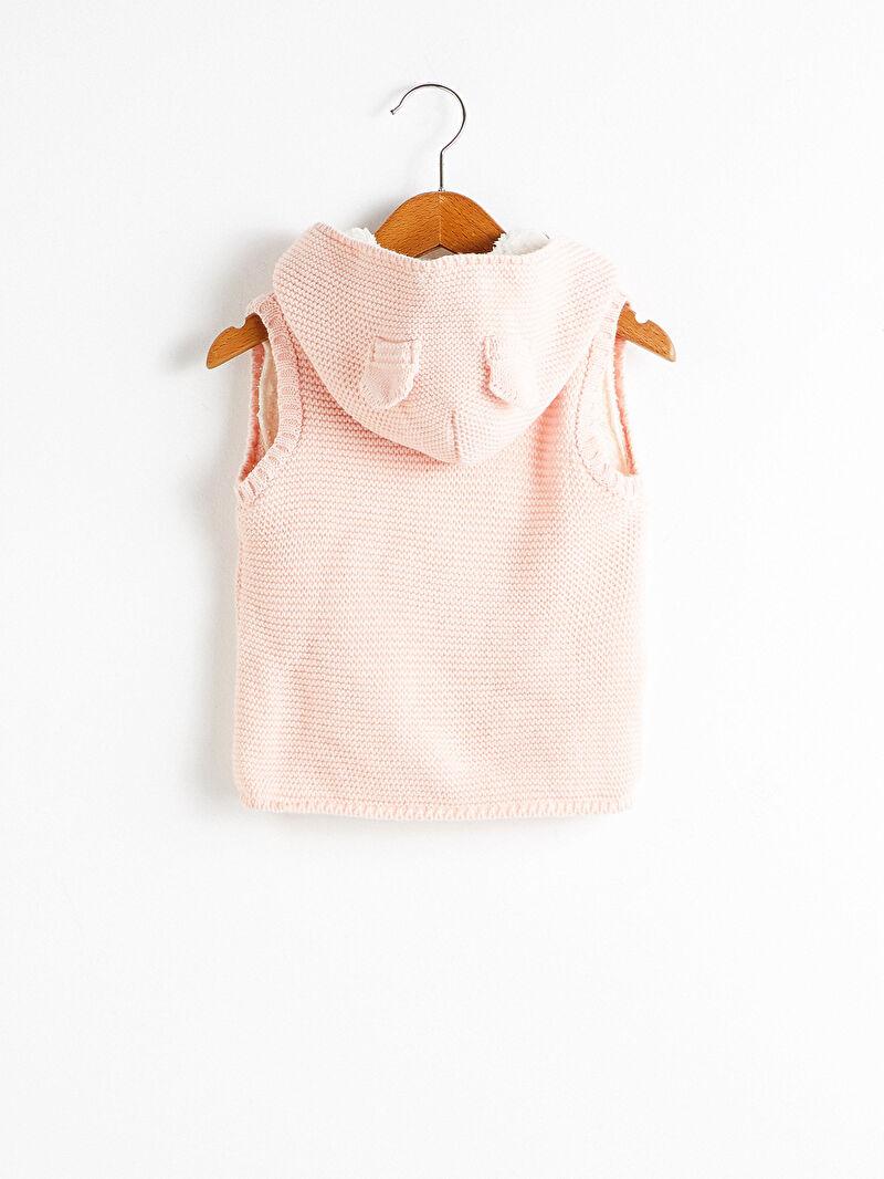 %100 Akrilik  %100 Polyester  Yelek Kapüşon Yaka Kolsuz Kız Bebek Triko Yelek