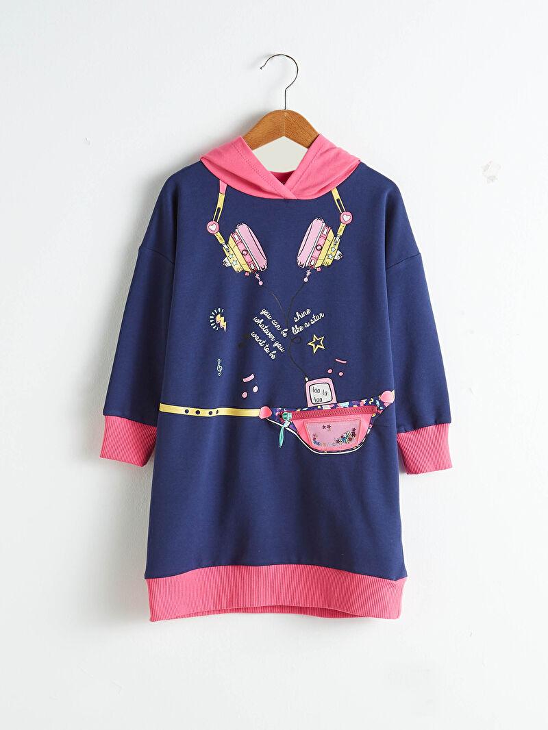 Lacivert Kız Çocuk Sweatshirt Elbise 0W6071Z4 LC Waikiki