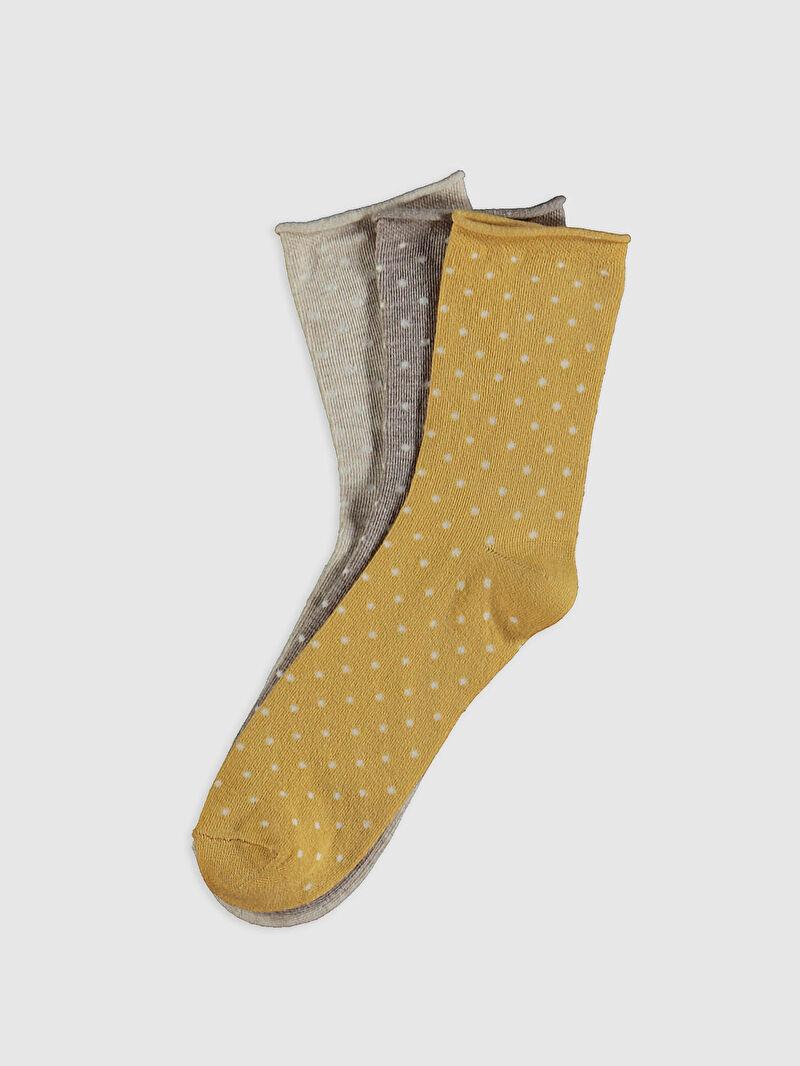 Bej Desenli Soket Çorap 3'lü 0W6074Z8 LC Waikiki