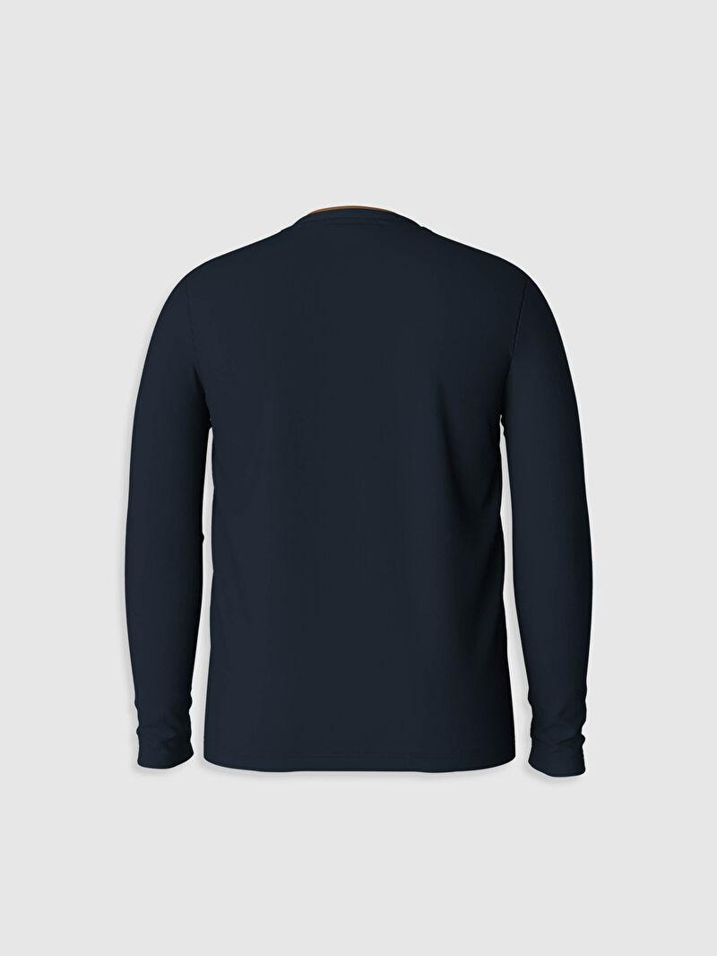 %100 Pamuk  Bisiklet Yaka Baskılı Sweatshirt