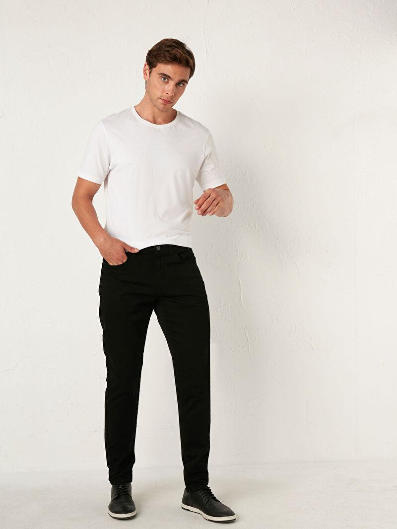 Siyah Slim Fit Gabardin Pantolon 0W7536Z8 LC Waikiki