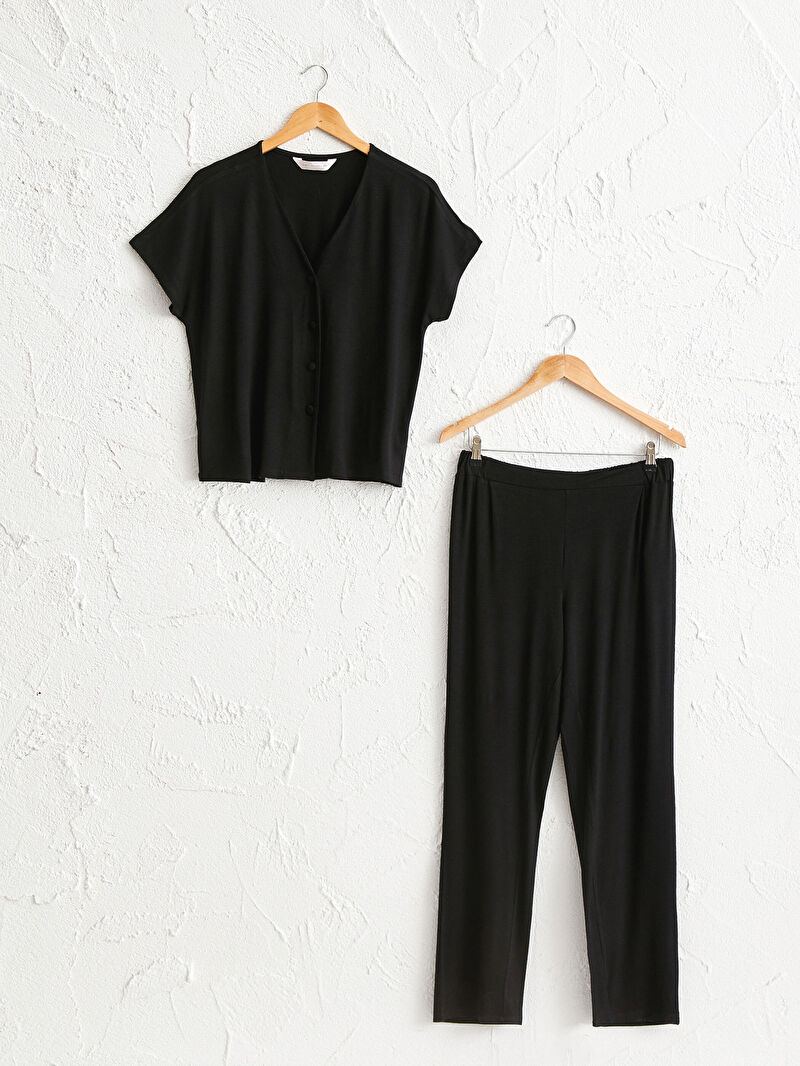 Siyah Salaş Pijama Takımı 0WG265Z8 LC Waikiki