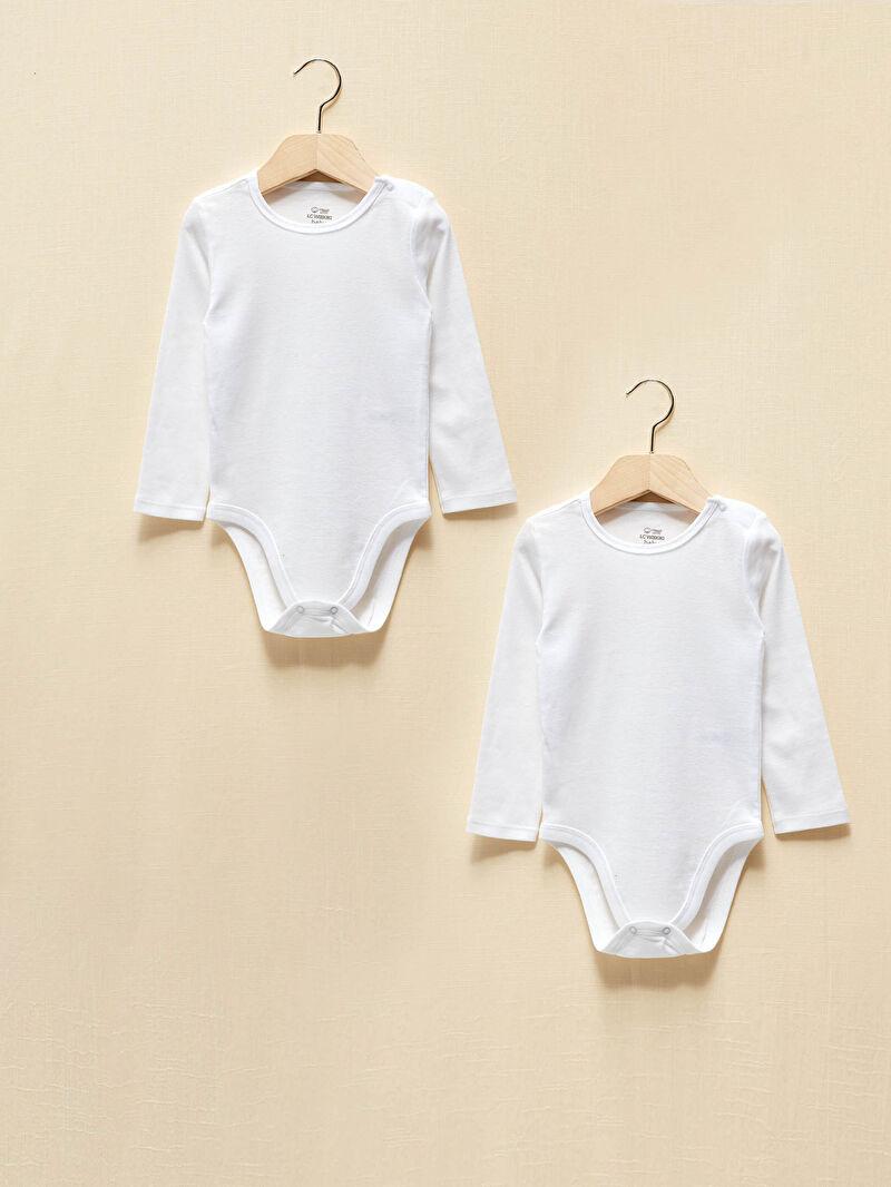 Beyaz Kız Bebek Organik Pamuklu Çıtçıtlı Body 2'li 0WG896Z1 LC Waikiki