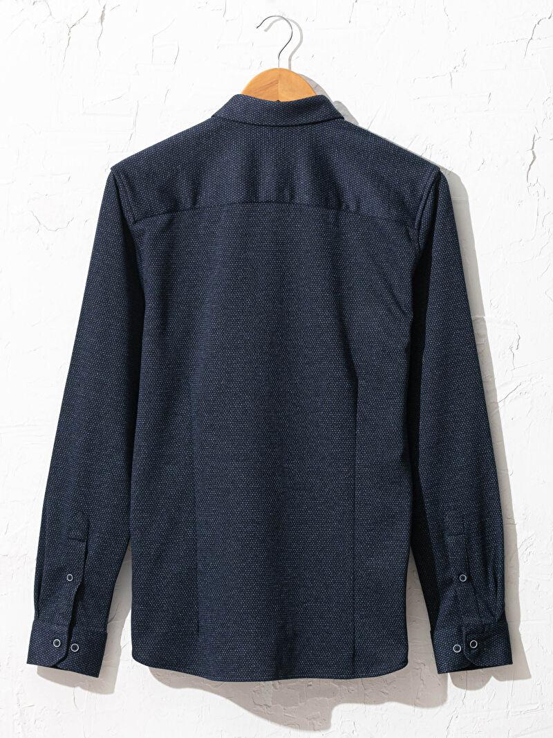 %73 Polyester %27 VİSKOZ  Gömlek Kalın Patlı Diğer Uzun Kol Düğmeli Gömlek Yaka Slim Fit Uzun Kollu Gömlek