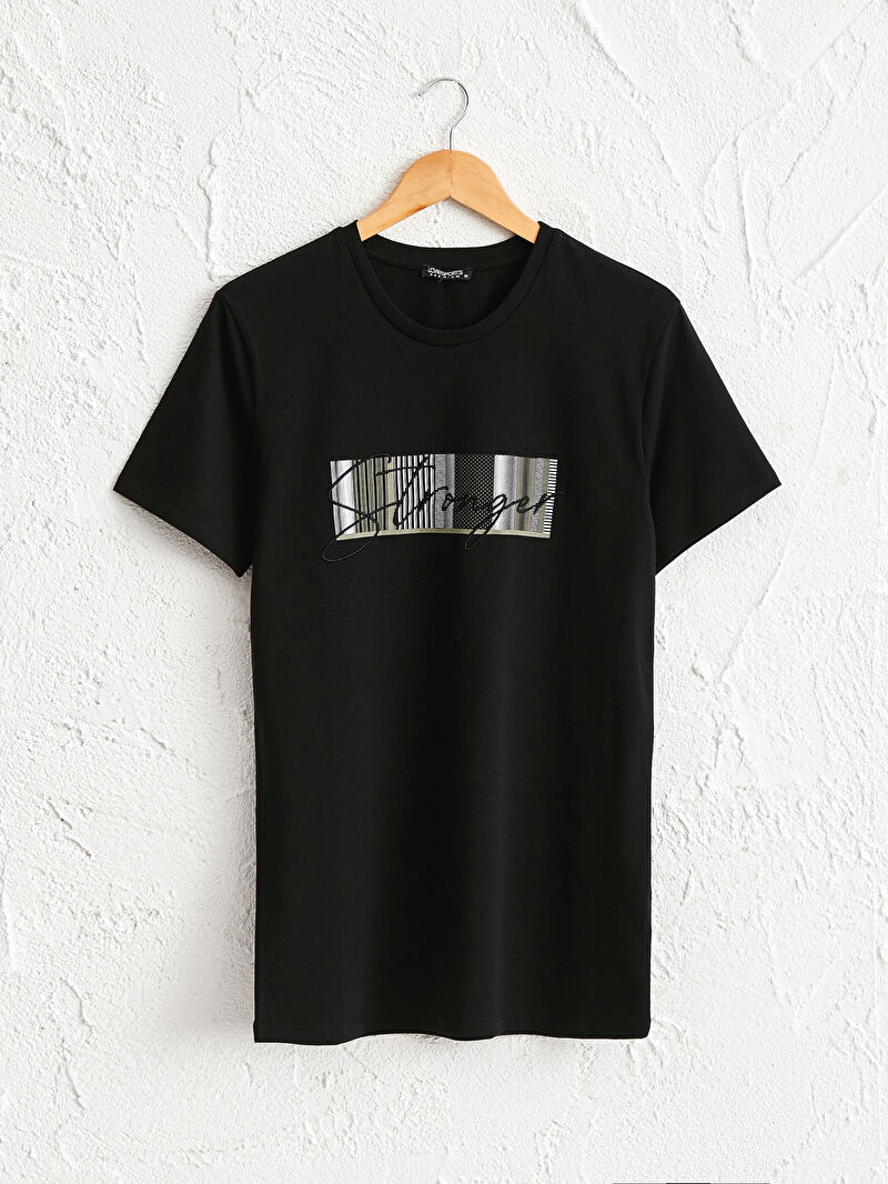 Siyah Bisiklet Yaka Baskılı Aktif Sport Tişört 0WI747Z8 LC Waikiki