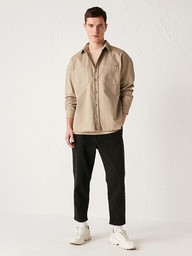 Erkek Oversize Uzun Kollu Gömlek