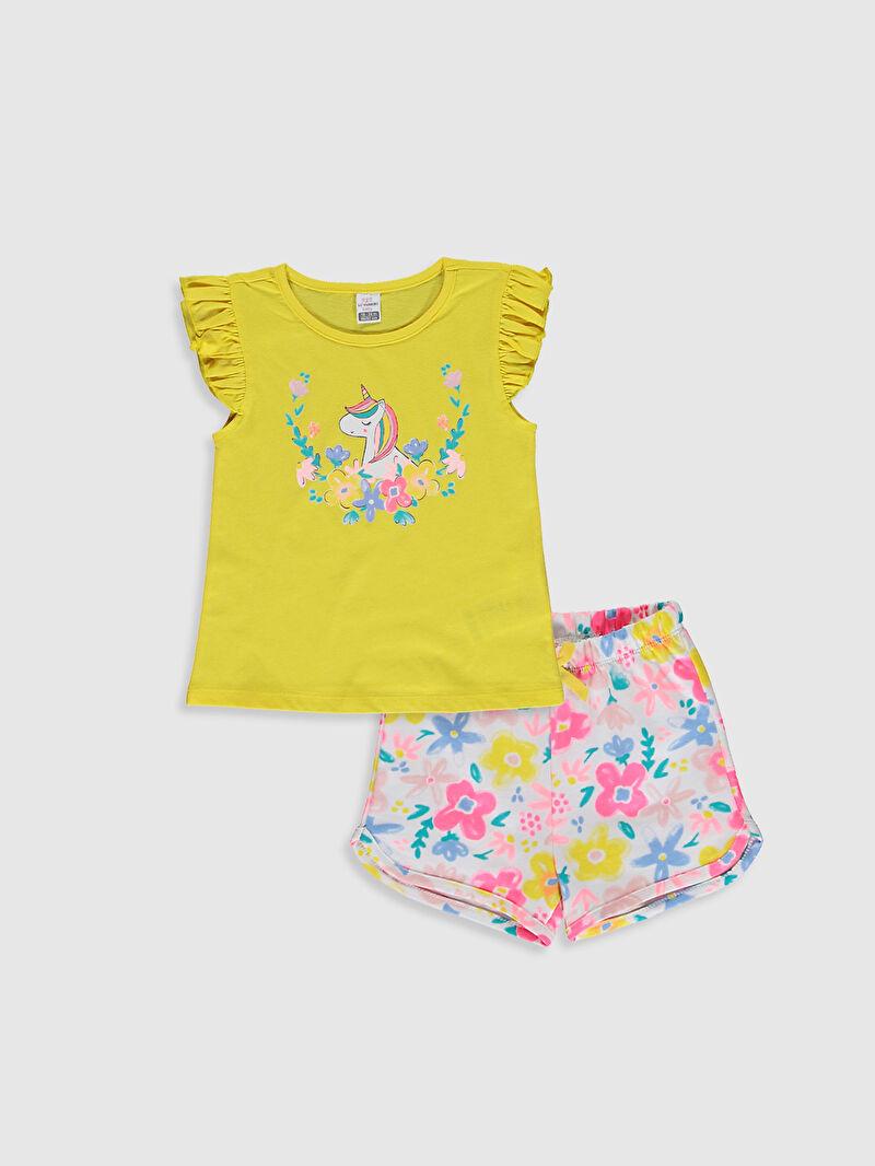 Sarı Kız Bebek Baskılı Tişört Ve Şort 0WAL77Z1 LC Waikiki