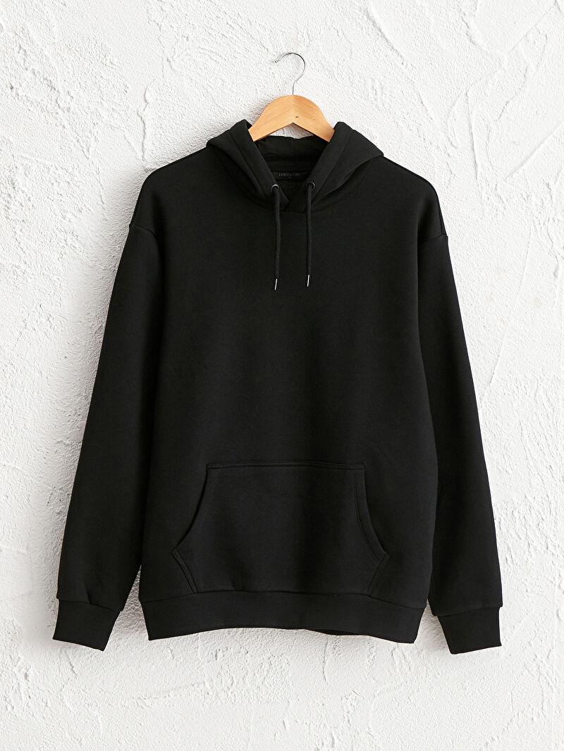 Siyah Kapüşonlu Basic Kalın Sweatshirt 0WBK22Z8 LC Waikiki