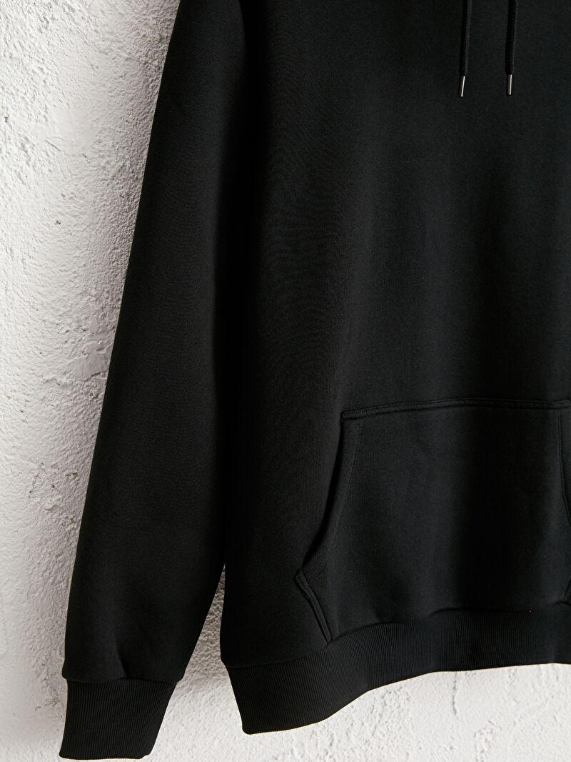 %60 Pamuk %40 Polyester  Kapüşonlu Basic Kalın Sweatshirt