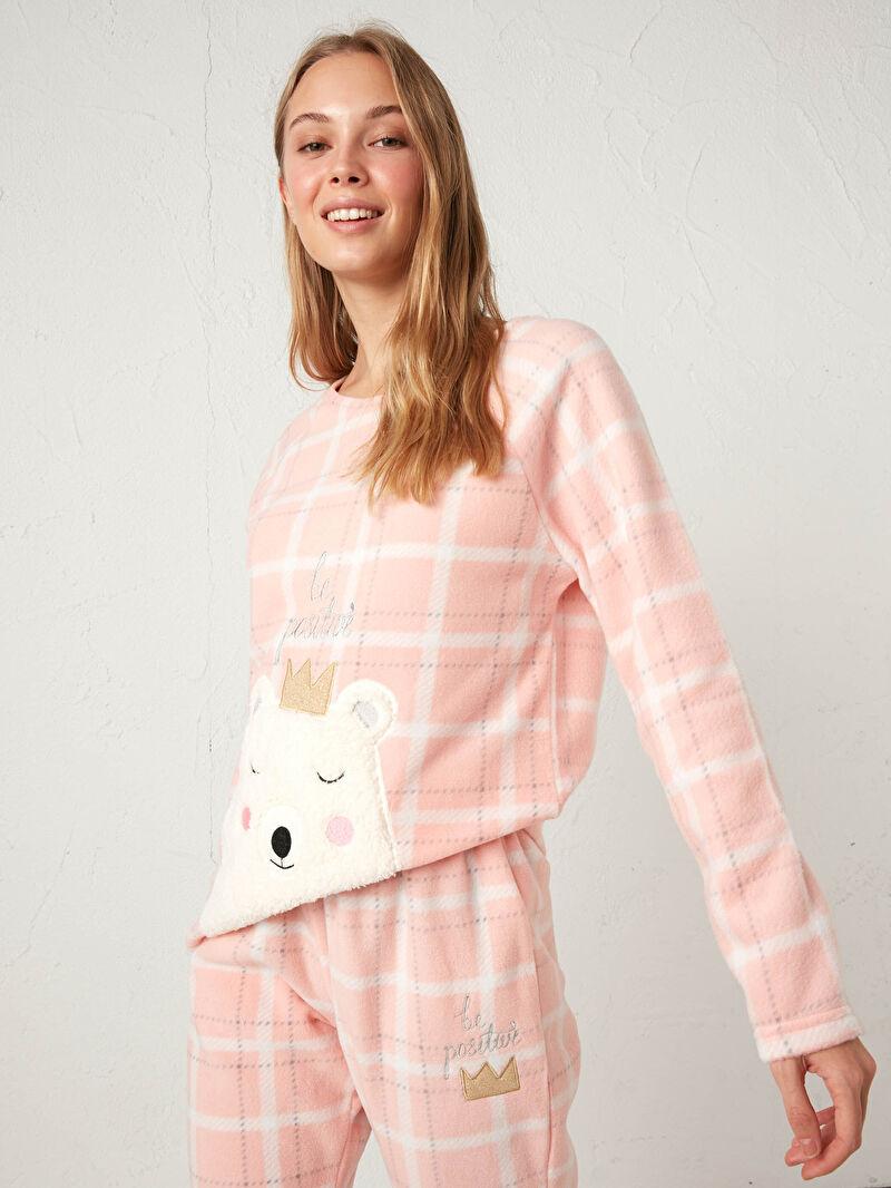 Kadın Nakışlı Polar Pijama Takımı