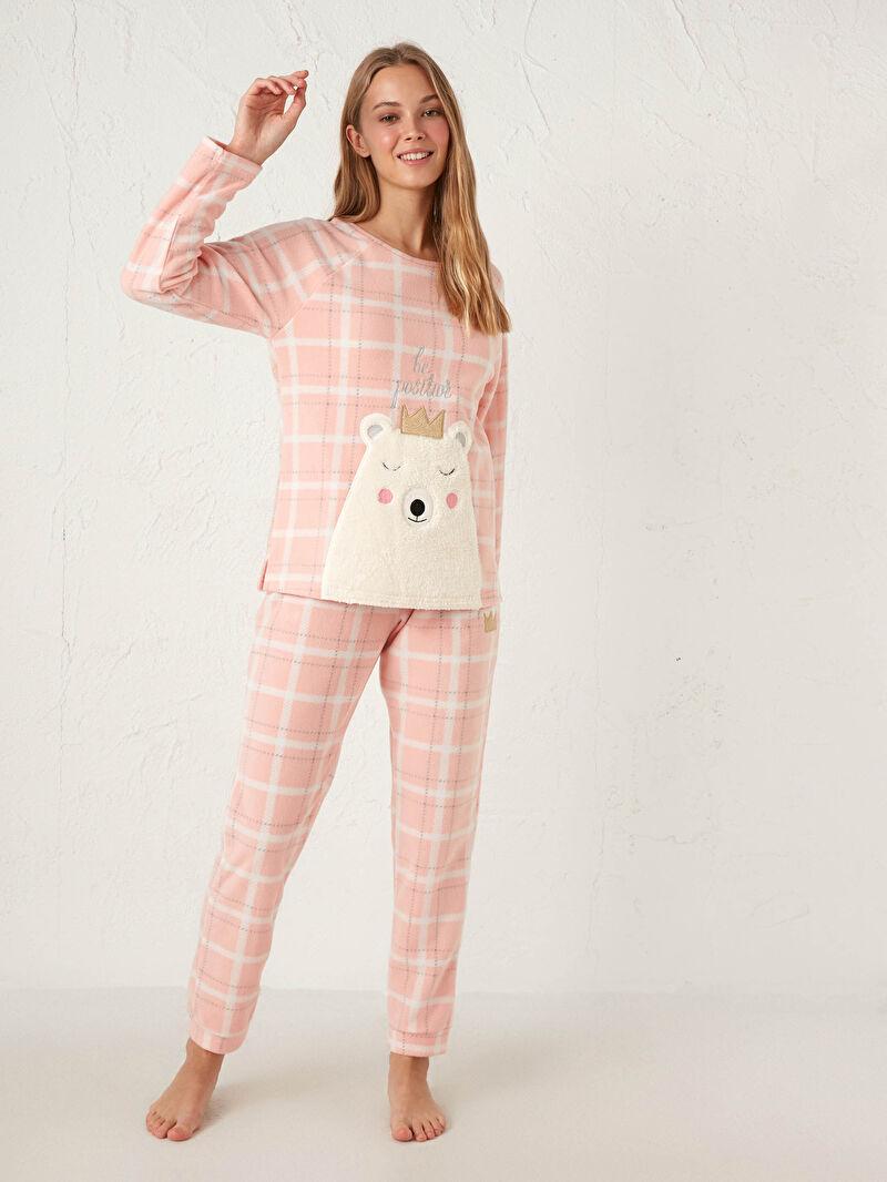 LC Waikiki Pembe Nakışlı Polar Pijama Takımı