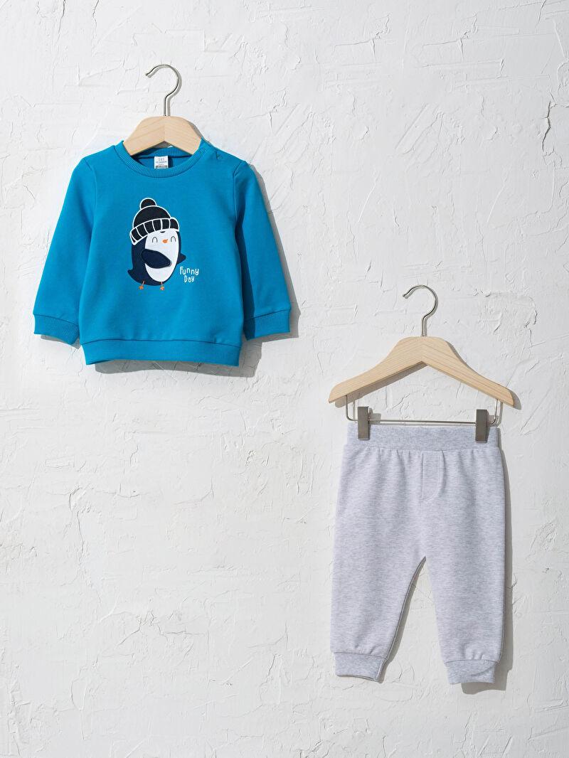 Turkuaz Erkek Bebek Sweatshirt ve Pantolon 0WBL39Z1 LC Waikiki