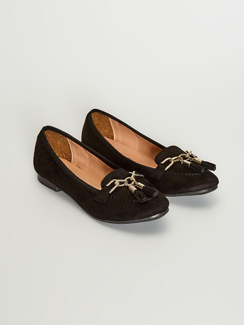 Siyah Kadın Püsküllü Loafer Süet Ayakkabı 0WBM30Z8 LC Waikiki