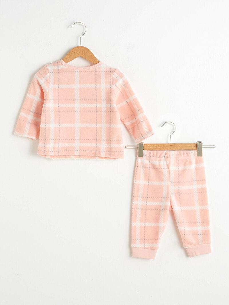 %100 Polyester  %100 Polyester  Polar Uzun Kol Desenli Pijama Takım Bisiklet Yaka Kız Bebek Polar Pijama Takımı