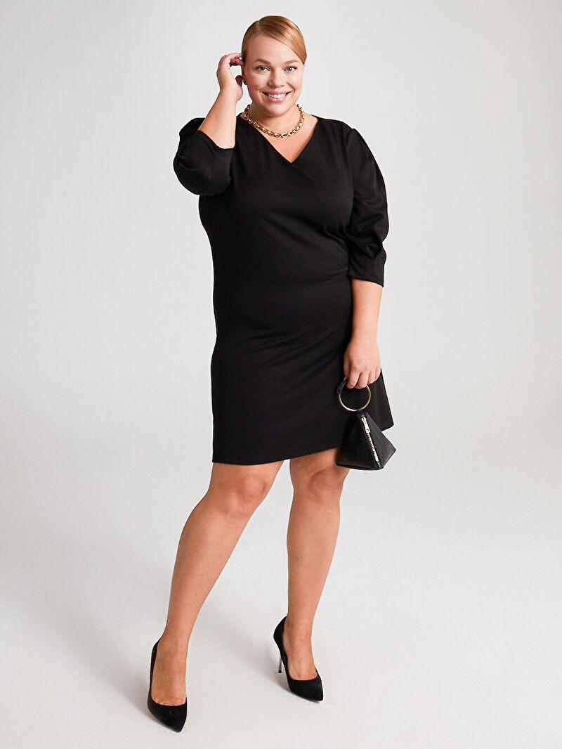 Siyah Düz Kesim Salaş Elbise 0WCO19Z8 LC Waikiki