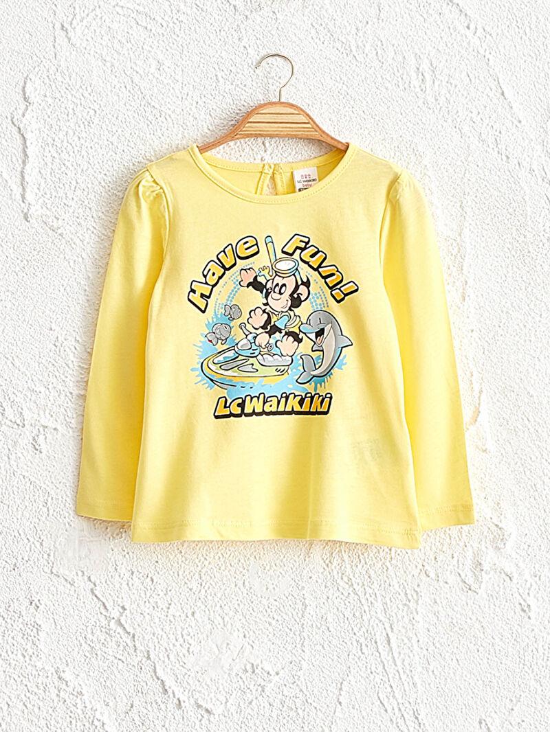 Sarı Kız Bebek Nostaljı Maymun Baskılı Tişört 0WCQ95Z1 LC Waikiki