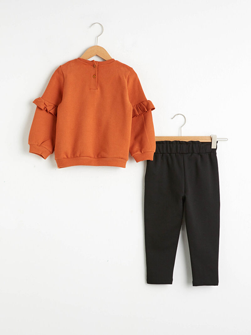 %68 Pamuk %29 Polyester %3 ELASTAN  %100 Pamuk  Şık Baskılı Bisiklet Yaka Orta Kalınlık Uzun Kol Takım Kız Bebek Sweatshirt ve Pantolon