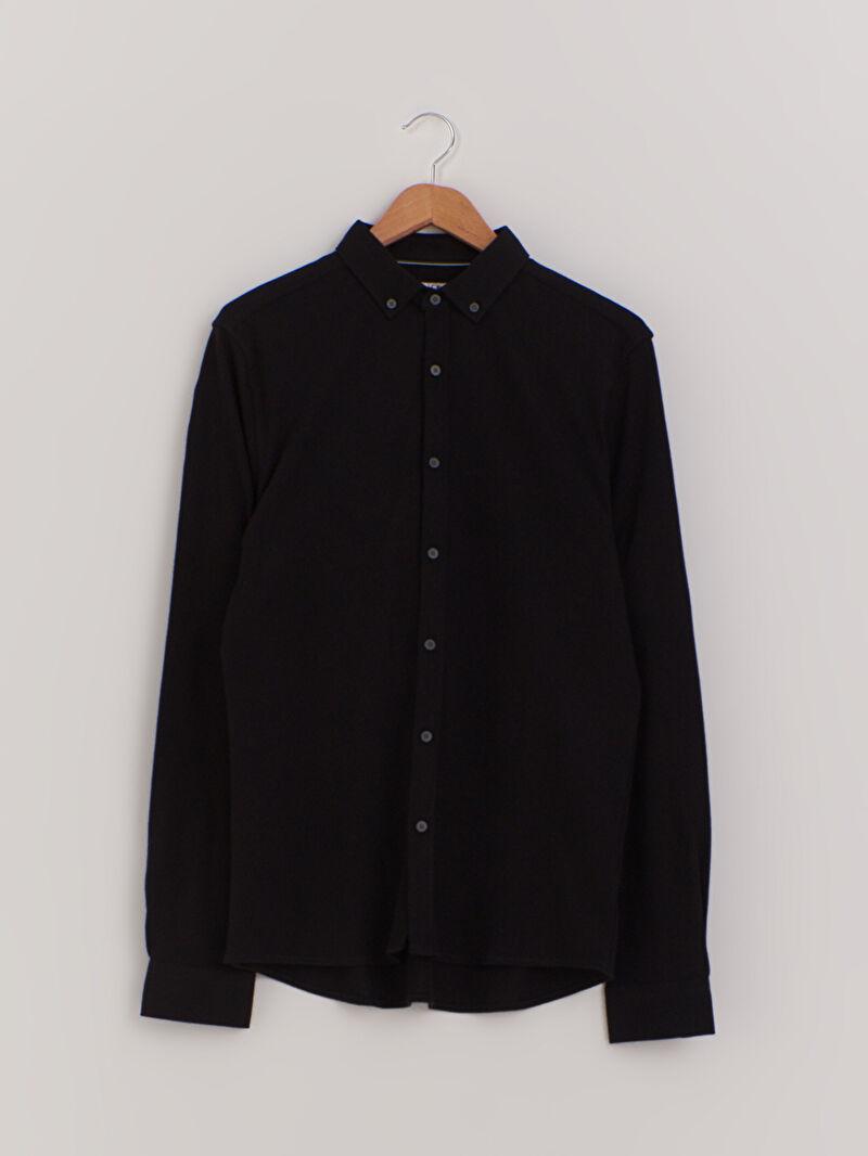 Siyah Slim Fit Uzun Kollu Pamuklu Gömlek 0WCU65Z8 LC Waikiki