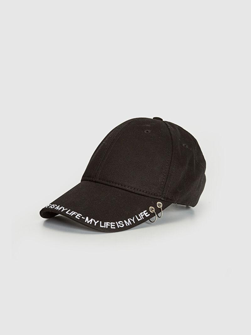 Siyah Yazı Detaylı Şapka 0WCU87Z8 LC Waikiki
