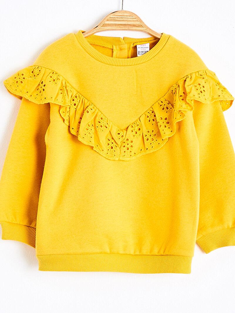 Kız Bebek Kız Bebek Fırfır Detaylı Sweatshirt