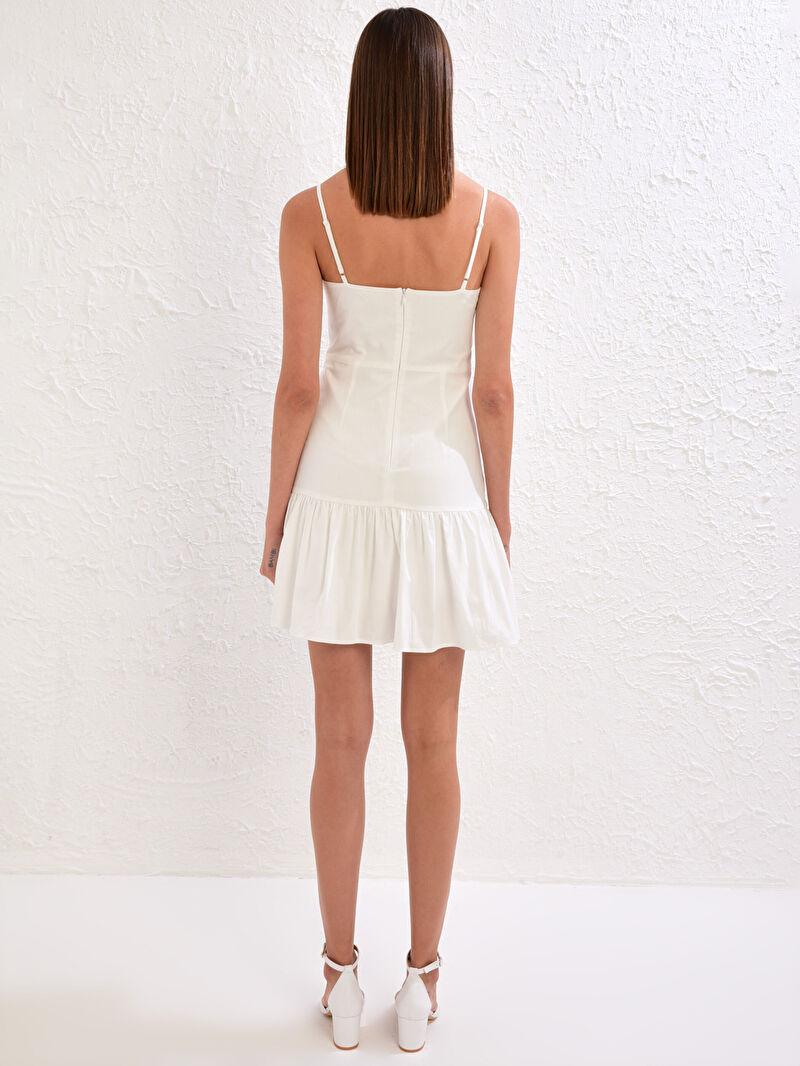 %100 Pamuk  Appleline Save The Date Kare Yaka Askılı Volanlı Elbise