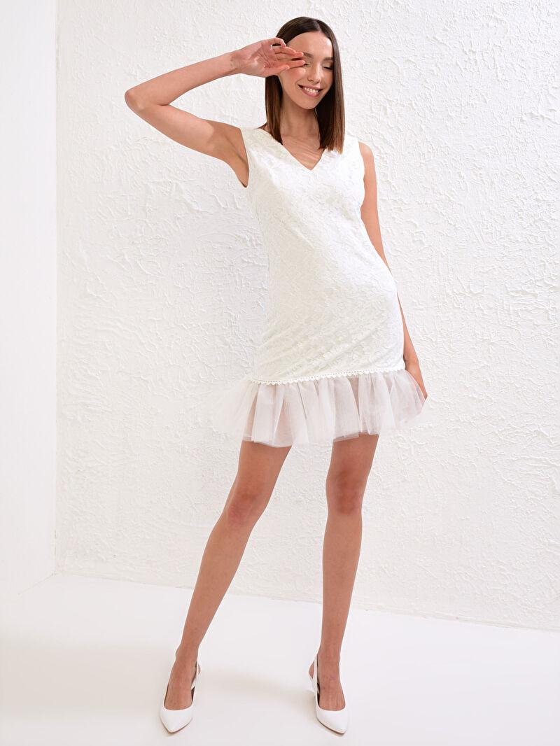 Kadın Save The Date Volanlı Mini Dantel Elbise