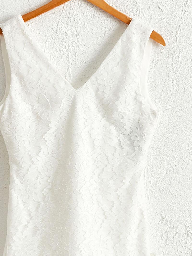 LC Waikiki Beyaz Save The Date Volanlı Mini Dantel Elbise