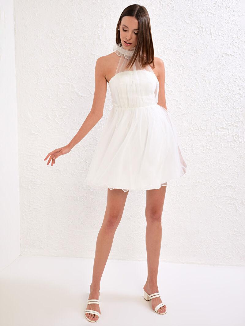 %95 Polyester %5 ELASTAN  %100 Polyester  %100 Polyester  Halter Yaka Elbise Kolsuz Appleline Save The Date Tül Detaylı Volanlı Mini Elbise