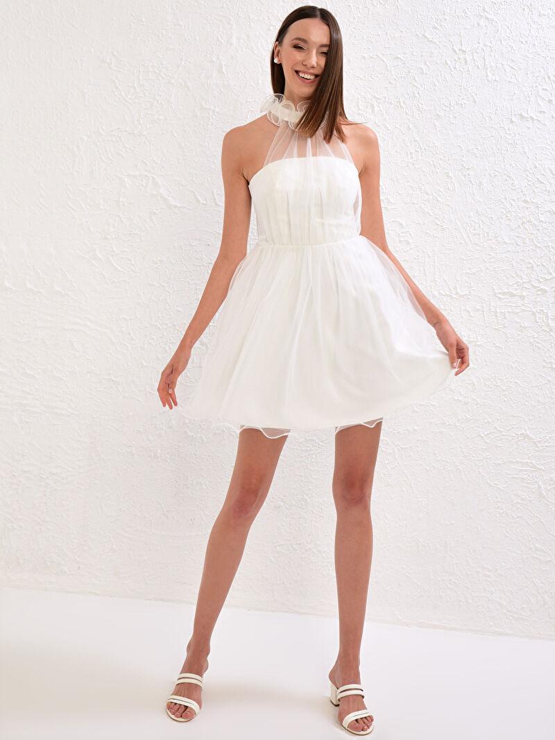Beyaz Appleline Save The Date Tül Detaylı Volanlı Mini Elbise 0WDA54Z8 LC Waikiki