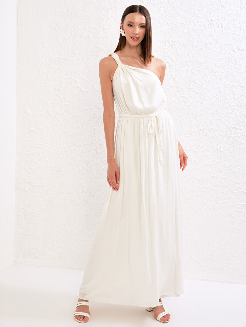 %100 VİSKOZ  Tek Omuz Elbise Appleline Save The Date Dokulu Kumaştan Kuşaklı Tek Omuz Elbise