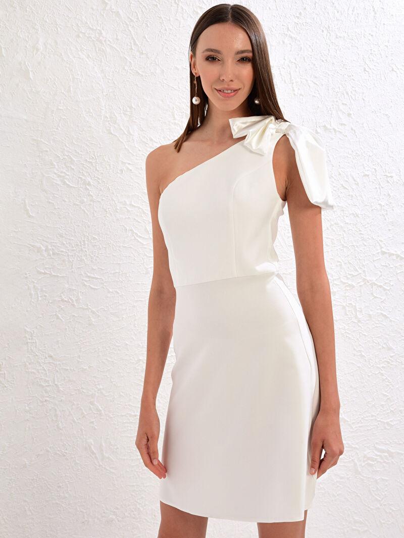 Kadın Appleline Save The Date Fiyonk Detaylı Tek Omuz Kloş Elbise