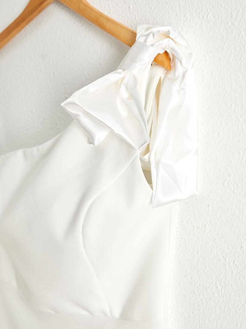 0WDD80Z8 Appleline Save The Date Fiyonk Detaylı Tek Omuz Kloş Elbise