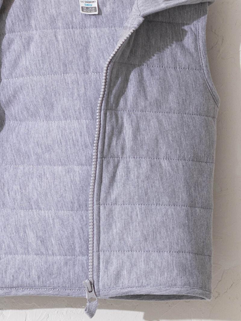 %68 Pamuk %32 Polyester  Erkek Bebek Kapüşonlu Fermuarlı Yelek